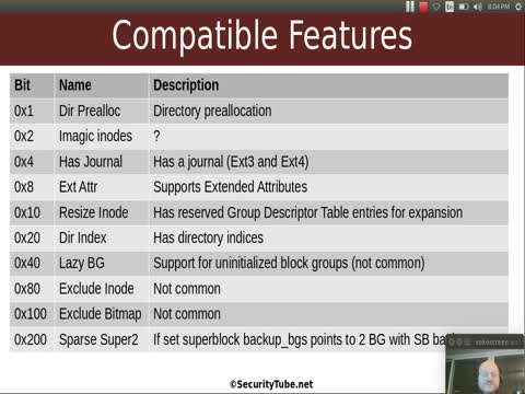 Filesystem Analysis: EXT Filesystem Compatible Features