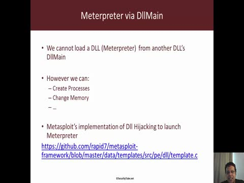 Meterpreter via DllMain in DLL Hijacking