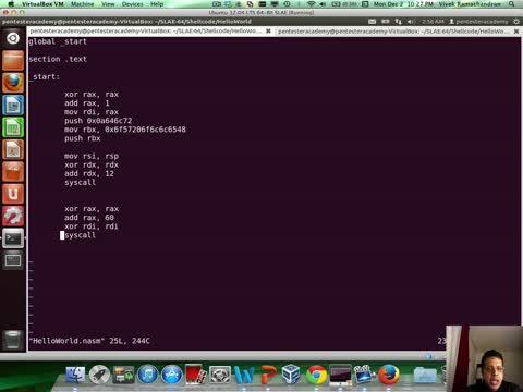 Module 2: HelloWorld Shellcode Stack Technique GDB Analysis